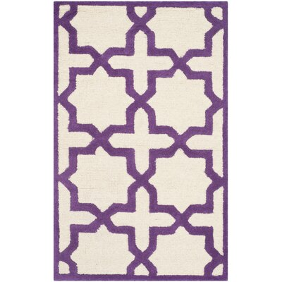 Martins Ivory / Purple Area Rug Rug Size: Rectangle 26 x 4