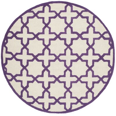 Martins Ivory / Purple Area Rug Rug Size: Round 6