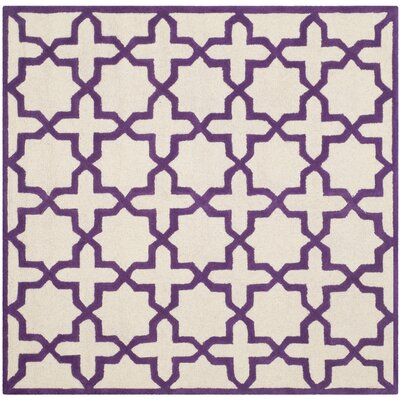Martins Ivory / Purple Area Rug Rug Size: Square 6