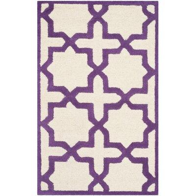 Martins Ivory / Purple Area Rug Rug Size: 26 x 4