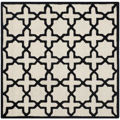 Martins Ivory / Black Area Rug Rug Size: Square 6