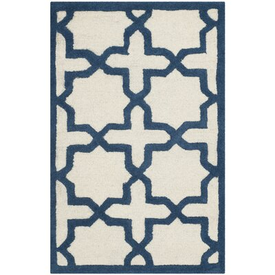 Martins Ivory / Navy Area Rug Rug Size: Rectangle 26 x 4
