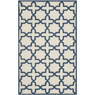 Martins Ivory / Navy Area Rug Rug Size: Rectangle 8 x 10