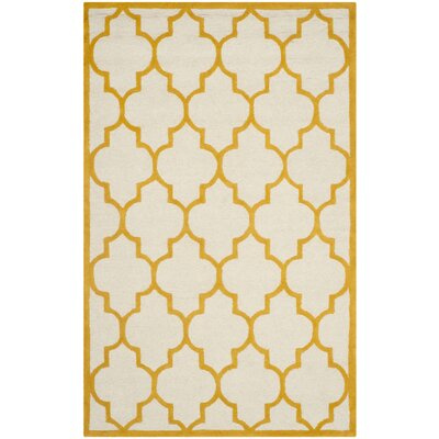 Charlenne Hand-Tufted Ivory/Gold Area Rug Rug Size: Rectangle 8 x 10