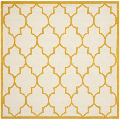 Charlenne Hand-Tufted Ivory/Gold Area Rug Rug Size: Square 6