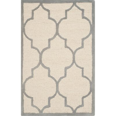 Charlenne Hand-Woven Wool Ivory/Silver Area Rug Rug Size: Rectangle 26 x 4