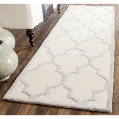Charlenne Hand-Woven Wool Ivory/Silver Area Rug Rug Size: Runner 26 x 10