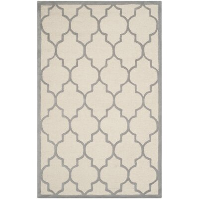 Charlenne Hand-Woven Wool Ivory/Silver Area Rug Rug Size: Rectangle 9 x 12