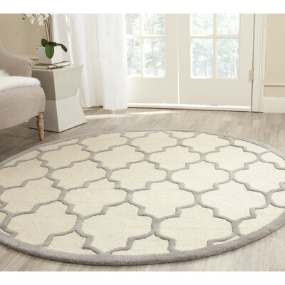 Charlenne Ivory / Silver Area Rug Rug Size: Round 6