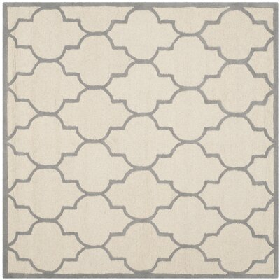 Charlenne Ivory / Silver Area Rug Rug Size: Square 6