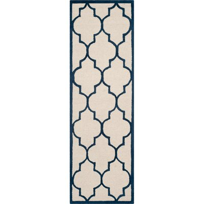 Charlenne Hand-Woven Wool Ivory / Navy Area Rug Rug Size: Runner 26 x 10