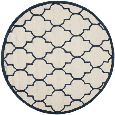 Charlenne Hand-Woven Wool Ivory / Navy Area Rug Rug Size: Round 6