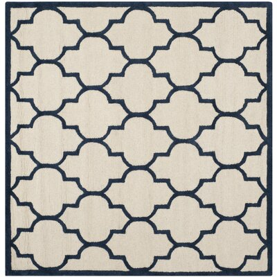 Martins Ivory / Navy Area Rug Rug Size: Square 6