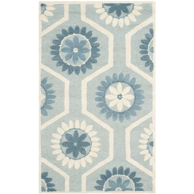 Martins Hand-Tufted Blue/Ivory Area Rug Rug Size: Rectangle 2 x 3