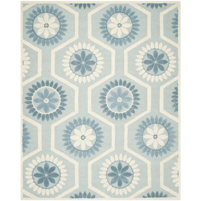 Martins Hand-Tufted Blue/Ivory Area Rug Rug Size: Rectangle 8 x 10