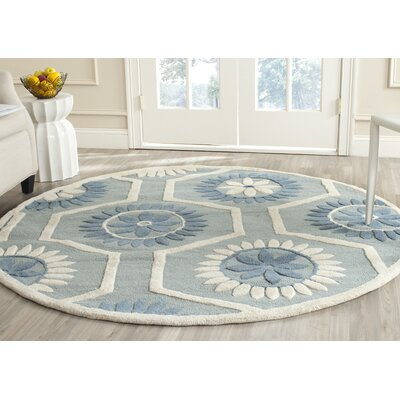 Martins Hand-Tufted Blue/Ivory Area Rug Rug Size: Round 6