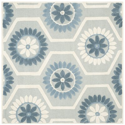 Martins Blue/Ivory Area Rug Rug Size: Square 6