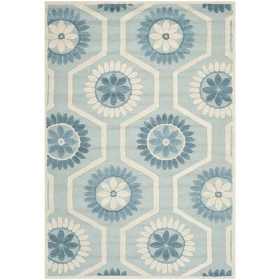 Martins Hand-Tufted Blue/Ivory Area Rug Rug Size: Rectangle 6 x 9