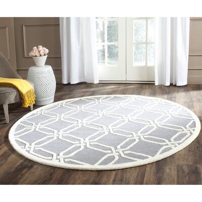 Martins Hand-Tufted Dark Gray/Ivory Area Rug Rug Size: Round 6