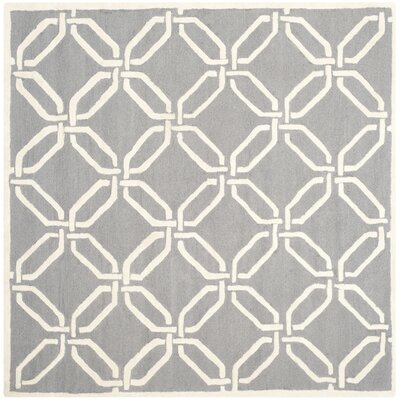 Martins Hand-Tufted Dark Gray/Ivory Area Rug Rug Size: Square 6