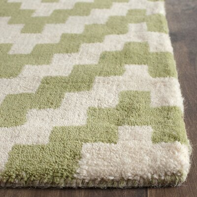 Martins Ivory & Light Green Area Rug Rug Size: Runner 26 x 8