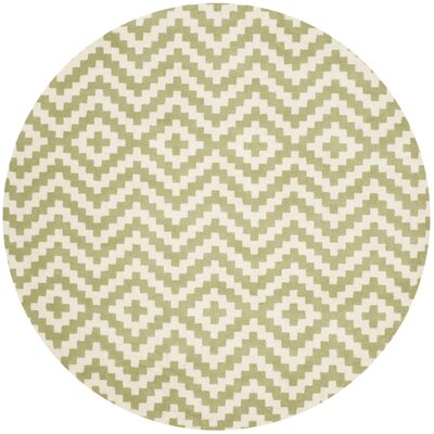 Martins Ivory & Light Green Area Rug Rug Size: Round 6