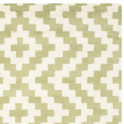 Martins Ivory & Light Green Area Rug Rug Size: Square 6