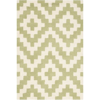 Martins Ivory & Light Green Area Rug Rug Size: 2 x 3