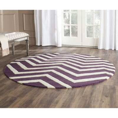 Charlenne Purple / Ivory Area Rug Rug Size: Round 6