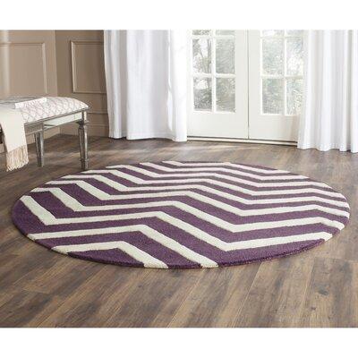 Martins Purple / Ivory Area Rug Rug Size: Round 6