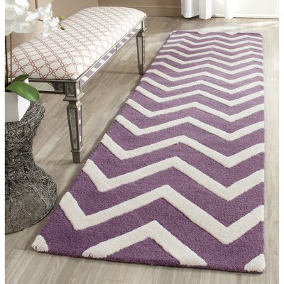 Martins Purple / Ivory Area Rug Rug Size: Runner 2'6
