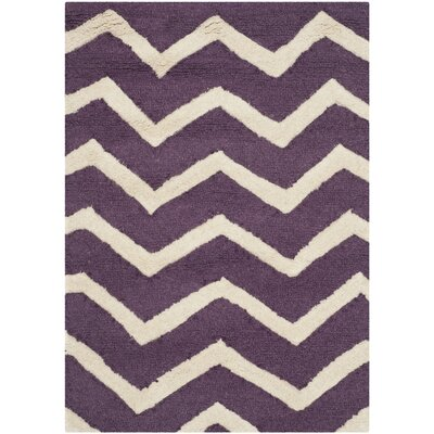Martins Purple / Ivory Area Rug Rug Size: 3' x 5'