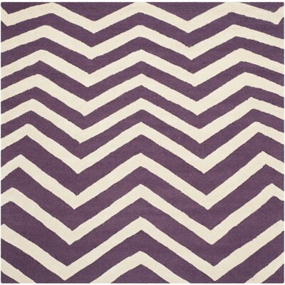 Charlenne Purple / Ivory Area Rug Rug Size: Square 6