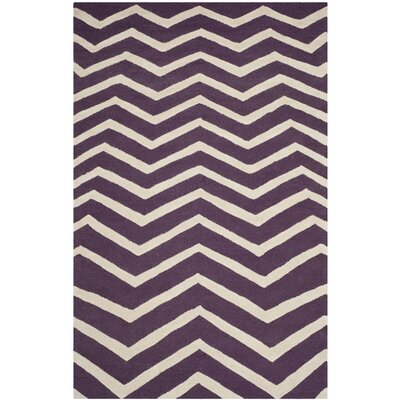 Charlenne Purple / Ivory Area Rug Rug Size: 4 x 6