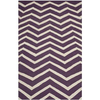 Charlenne Purple / Ivory Area Rug Rug Size: 5 x 8