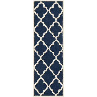 Charlenne Hand-Tufted Navy/Ivory Area Rug Rug Size: Runner 26 x 8