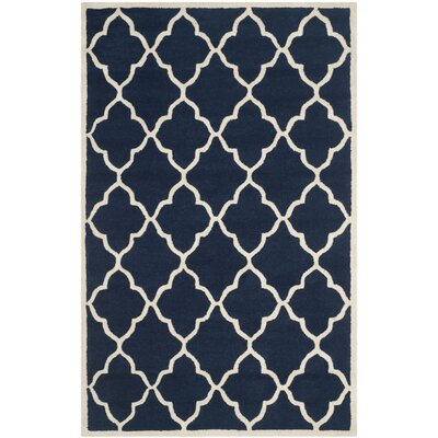 Charlenne Hand-Tufted Navy / Ivory Wool Area Rug Rug Size: 5 x 8