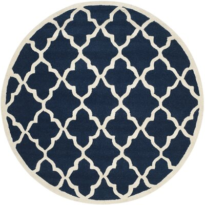 Charlenne Hand-Tufted Navy/Ivory Area Rug Rug Size: Round 6