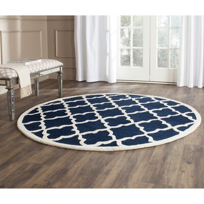 Charlenne Hand-Tufted Navy / Ivory Wool Area Rug Rug Size: Round 6