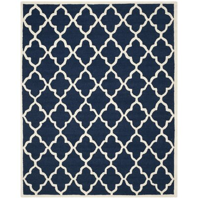 Charlenne Hand-Tufted Navy / Ivory Wool Area Rug Rug Size: 8 x 10