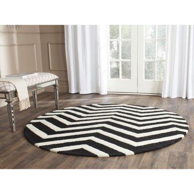 Charlenne Black/Ivory Area Rug Rug Size: Round 6