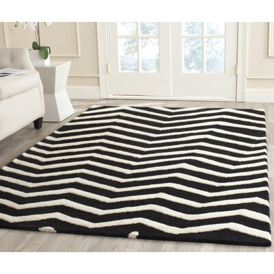 Charlenne Hand-Tufted Black/Ivory Area Rug Rug Size: Rectangle 3 x 5