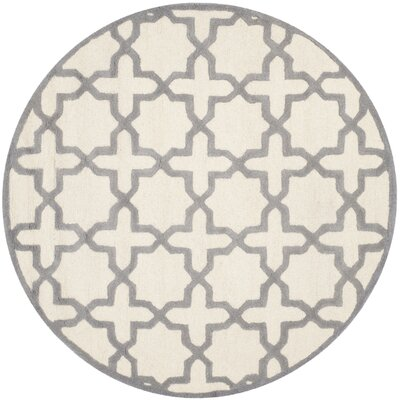 Martins Ivory / Silver Area Rug Rug Size: Round 6