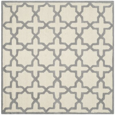 Martins Ivory / Silver Area Rug Rug Size: Square 6