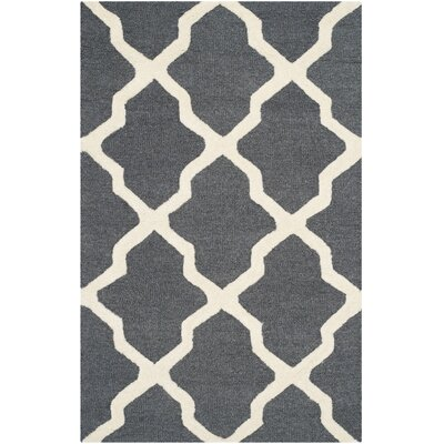 Charlenne Wool Dark Gray/Ivory Area Rug Rug Size: Rectangle 26 x 4