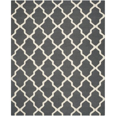 Charlenne Wool Dark Grey/Ivory Area Rug Rug Size: 9 x 12