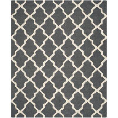 Charlenne Wool Dark Grey/Ivory Area Rug Rug Size: 11 x 15