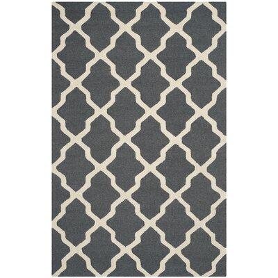 Charlenne Wool Dark Grey/Ivory Area Rug Rug Size: 5 x 8