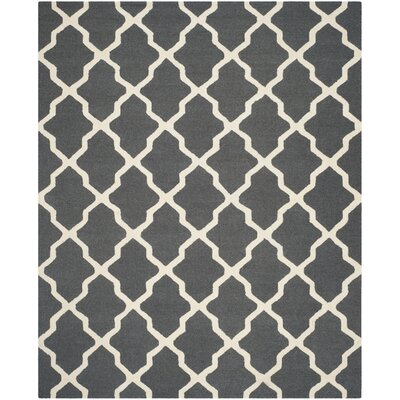 Martins Dark Grey/Ivory Area Rug Rug Size: 8 x 10