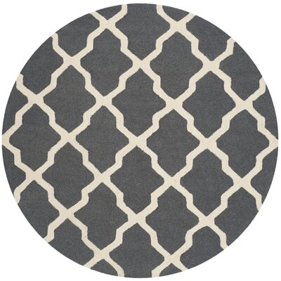 Charlenne Wool Dark Gray/Ivory Area Rug Rug Size: Round 4